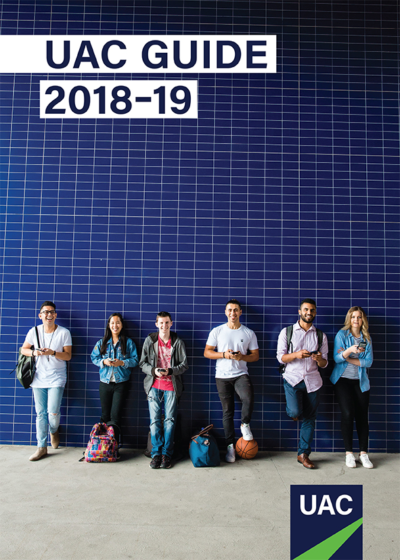 Cover of the UAC Guide 2018-19 showing six young people smiling to camera standing against a vast tiled blue wall
