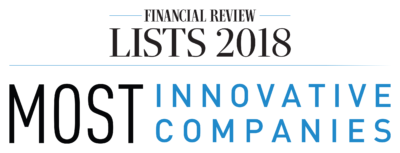 Australian Financial Review Banner for award presented to UAC – Winner of Best Process Innovation Award and ranked 41st in the AFR 2018 Most Innovative Companies List