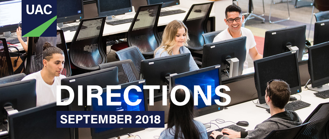 Banner for Directions 2018 showing a number of young people at computers smiling and chatting
