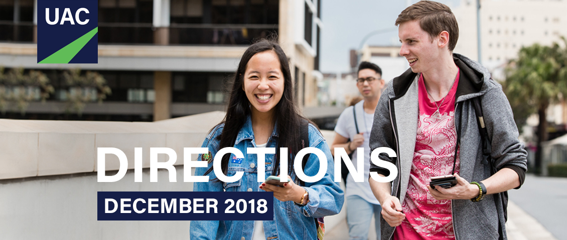 Directions December 2018 banner showing two young people chatting and smiling as they walk ahead of a third guy with glasses