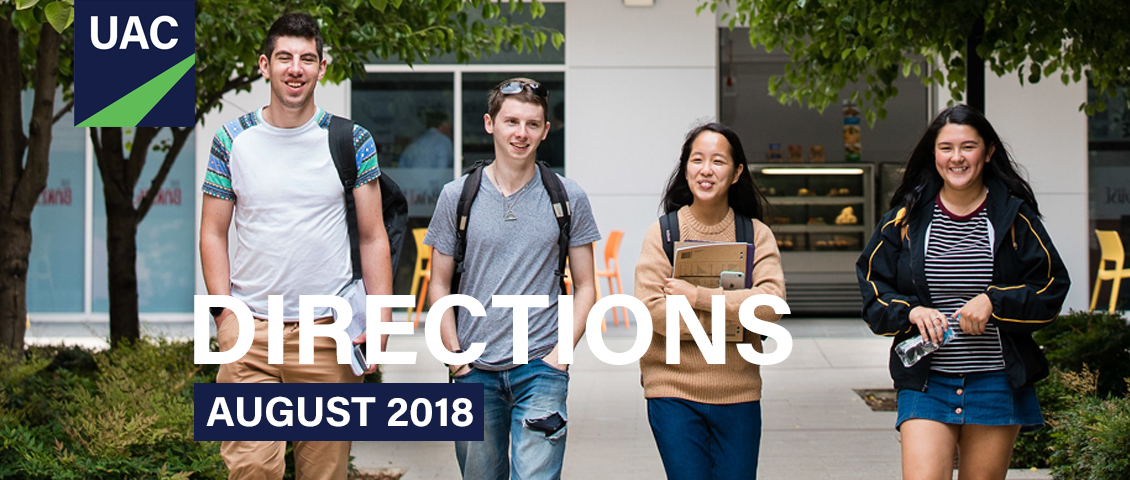 Direction August 2018 banner showing four young people walking outside towards camera smiling