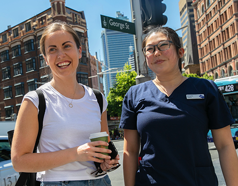 Two nursing students out on George st, Sydney