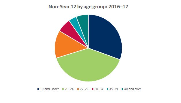 Graph showing breakdown of non-year 12 applicants by age group 2016-2017