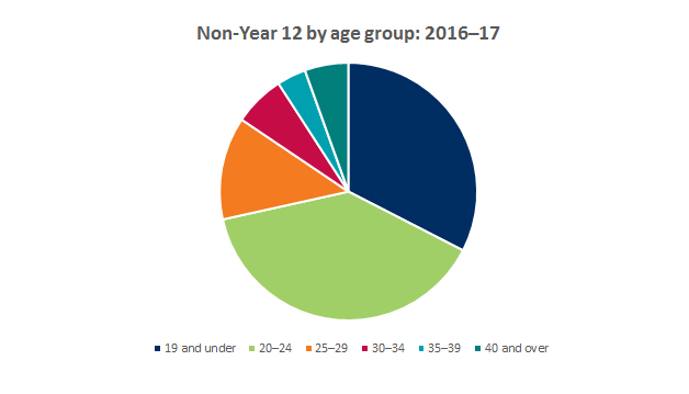 Graph showing breakdown of offers to non-year 12 applicants by age group 2016-2017