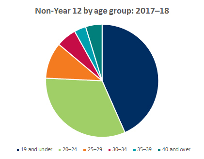 Pie chart showing breakdown of non-year 12 applicants by age group 2017-2018
