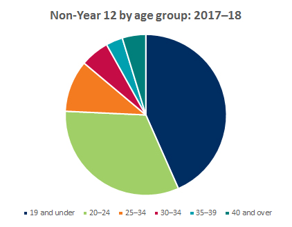 Graph showing breakdown of non-year 12 applicants by age group 2017-2018